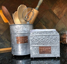 Shop for autumn alley farmhouse galvanized large kitchen utensil holder pretty embossing and copper label add farmhouse warmth and charm