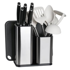 Top elfrhino utensils organizer stainless steel kitchen utensils holder container utensils cock flatware caddy cookware cutlery knives block cutting board multipurpose kitchen storage crock set of 3