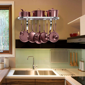 On amazon vdomus square grid wall mount pot rack bookshelf rack with 10 hooks kitchen cookware 24 by 10 inch sliver