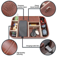 Kitchen makuzo nightstand organizer and valet tray for men and women charging station with 8 compartments and privacy lid for office kitchen dresser and bedroom