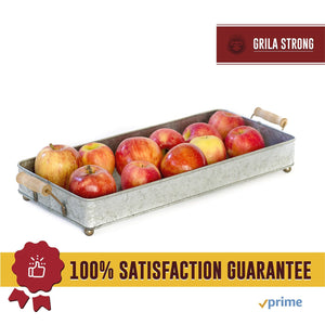 Top rated grila rustic metal serving tray wooden handles cute ball feet table decor serving coffee coco home dining centerpieces office desk organizer country farmhouse kitchen decorative functional well made