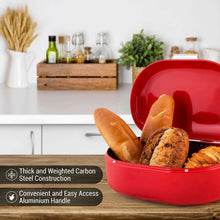 Latest bread box red carbon steel large capacity sturdy metal food storage containers and bread boxes for kitchen counters retro countertop breadbox for loaves 15 7 x 10 8 x 7 inches