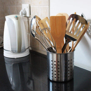 Discover the best utopia kitchen utensil holder utensil container 5 x 5 3 utensil crock flatware caddy brushed stainless steel cookware cutlery utensil holder