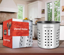 Buy now utopia kitchen utensil holder utensil container 5 x 5 3 utensil crock flatware caddy brushed stainless steel cookware cutlery utensil holder
