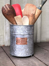 Storage organizer autumn alley farmhouse galvanized large kitchen utensil holder pretty embossing and copper label add farmhouse warmth and charm