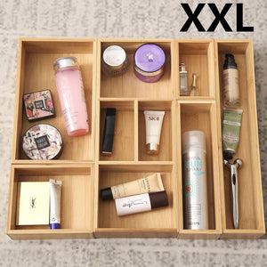 The best xxl set of 6 bamboo drawer storage box desk organizer 9 compartment organization tray holder 100 bamboo drawer divider 18 x 15 x 2 5 for office bathroom bedroom kitchen children room