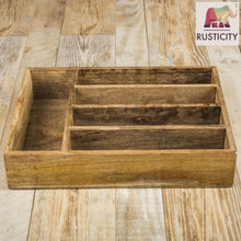 Selection rusticity wooden utensil drawer organizer with 5 compartments kitchen flatware cutlery tray organizer mango wood handmade 13 7 x 10 2 x 2 6 in