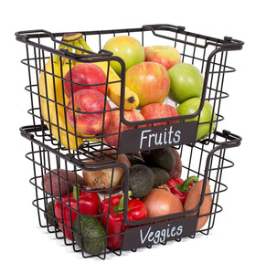 Amazon best birdrock home stacking wire market baskets with chalk label set of 2 fruit vegetable produce metal storage bin for kitchen counter black