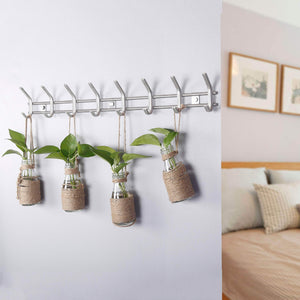 Buy webi wall mounted coat hooks stainless steel 304 heavy duty c wall hooks rail robe hook rack for bathroom kitchen entryway closet b c cbg08 2 8 hooks satin 2 pack
