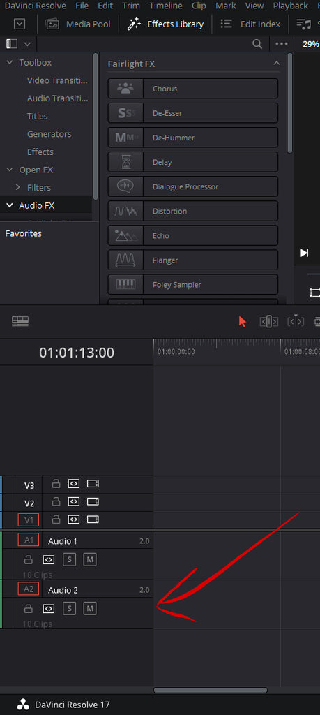 Adding audio effects on the edit page to the track in DaVinci Resolve 17