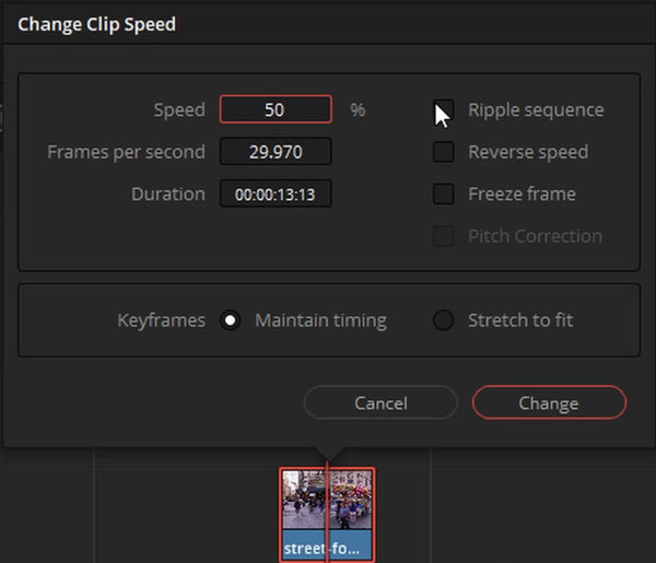 Menu to change video speed in davinci resolve