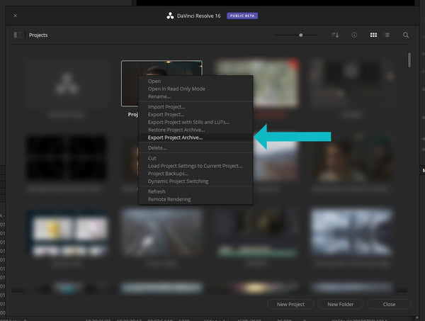Export Project Archive in DaVinci Resolve