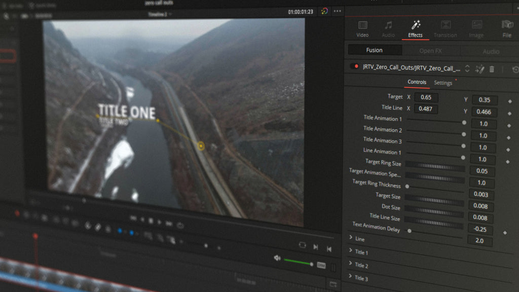 Call-outs using effects stack in DaVinci Resolve