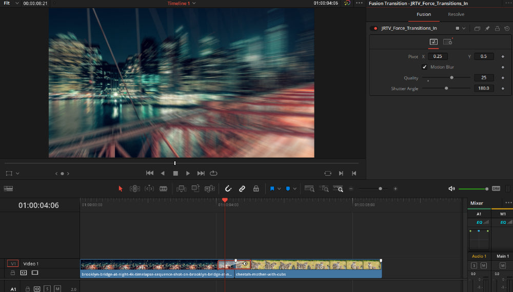 Using fusion transitions on edit page in DaVinci Resolve