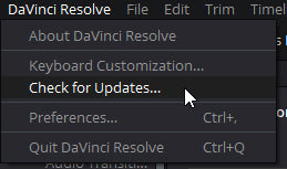 davinci resolve check for updates drop down