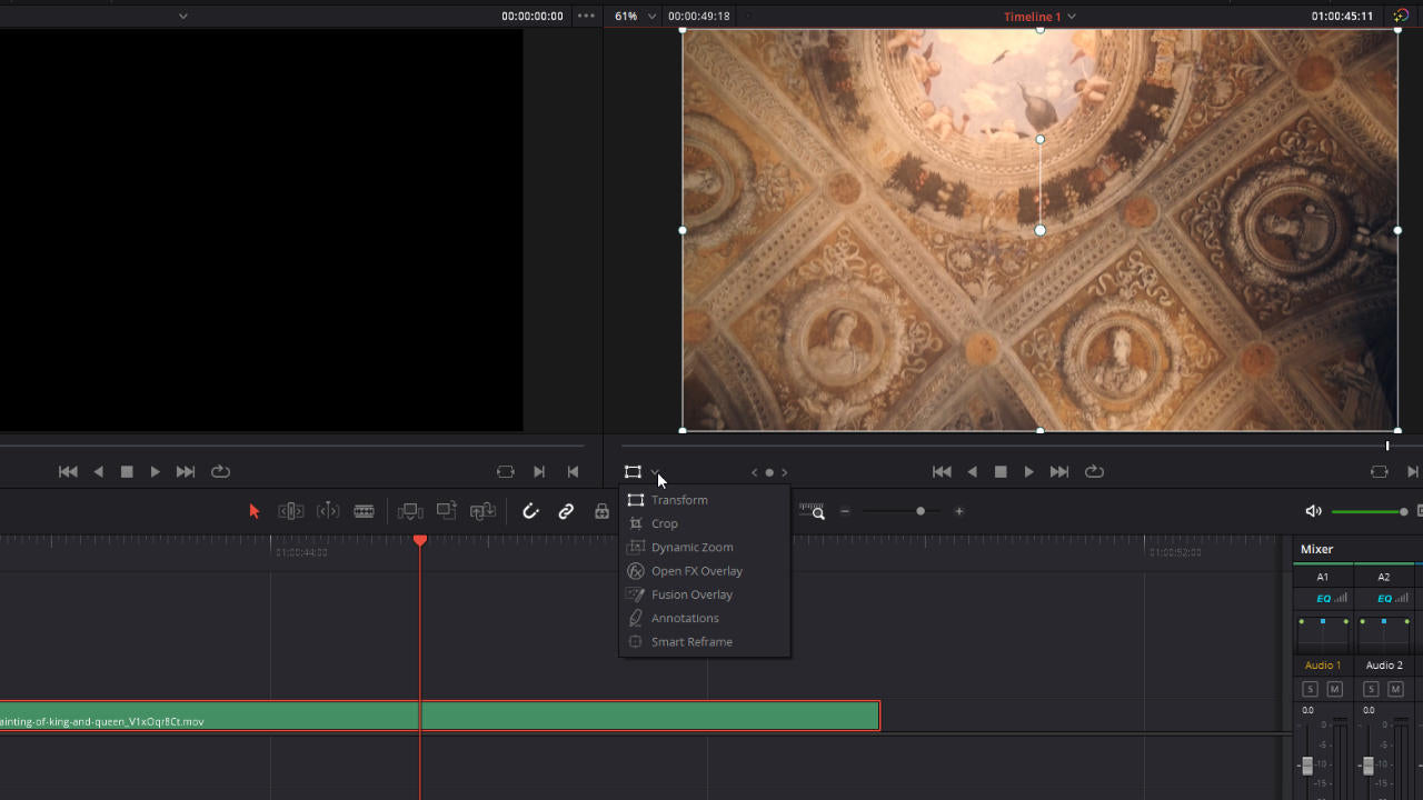 DaVinci Resolve on-screen controls on the edit page