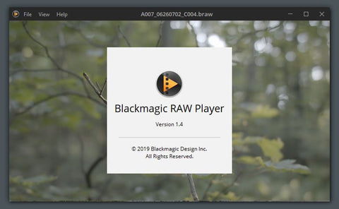Blackmagic raw player version 1.4 for windows