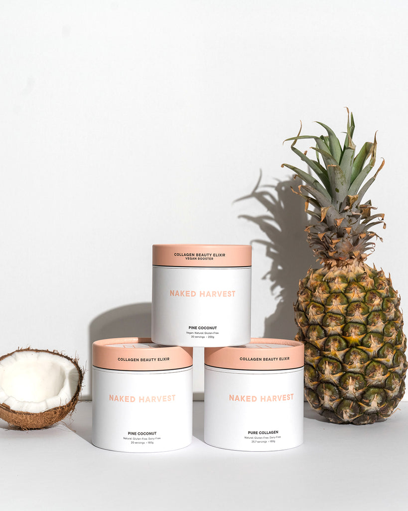 Naked Harvest Collagen Beauty Elixir Range with pineapple and coconut in the background
