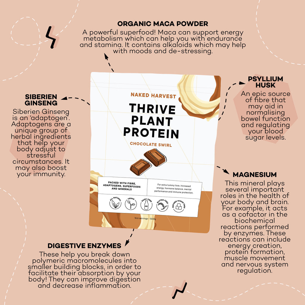 Naked Harvest Chocolate Swirl THRIVE plant protein