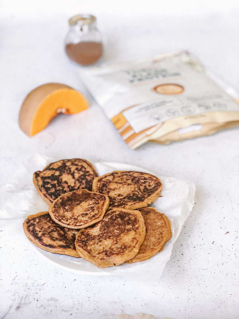 Naked Harvest Vanilla Protein Powder with pikelets and pumpkin