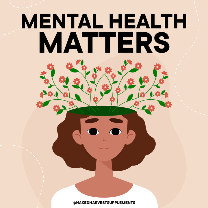 Girl with flowers growing from head below the words Mental Health Matters