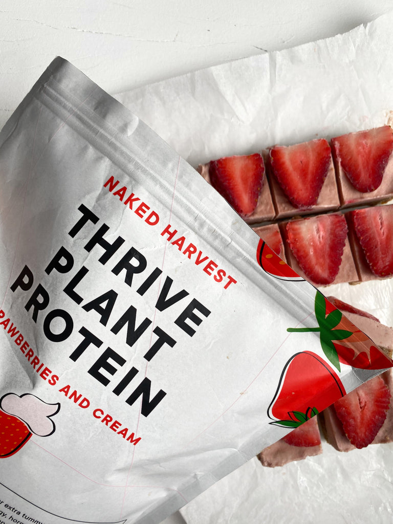 Naked Harvest THRIVE protein with strawberries and cream slice