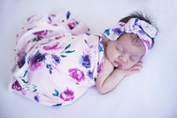 Floral Kiss - Baby Jersey Wrap & Topknot Set