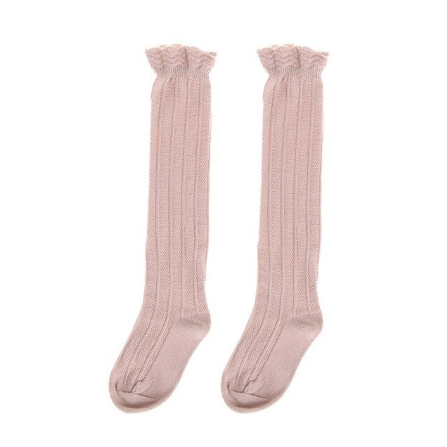 Ribbed Knee High Socks - Blush Pink