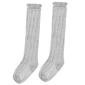 Ribbed Knee High Socks - Gray