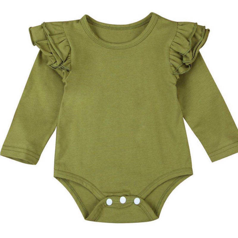 Green Long Sleeve Flutter Bodysuit