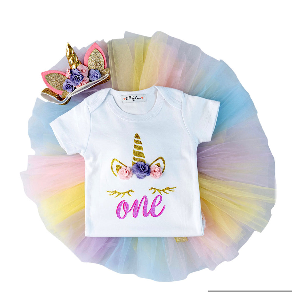Pastal Rainbow Unicorn Birthday Outfit 🦄