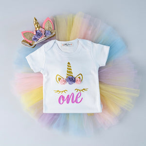 Pastal Rainbow Unicorn Birthday Dress 🦄