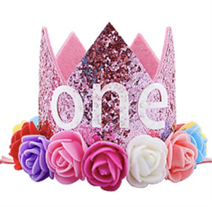 Pink Rainbow ONE - First Birthday Crown