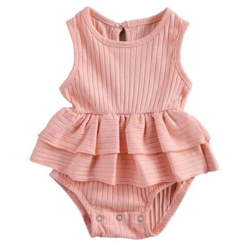Ribbed Pink Frilly Romper