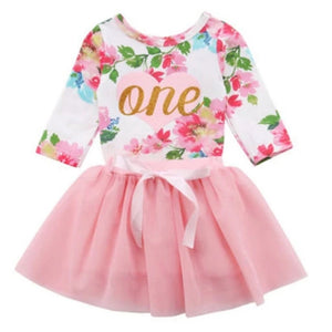 Floral Winter First Birthday Outfit