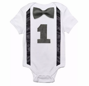Grey on Grey Bow Tie Onesie