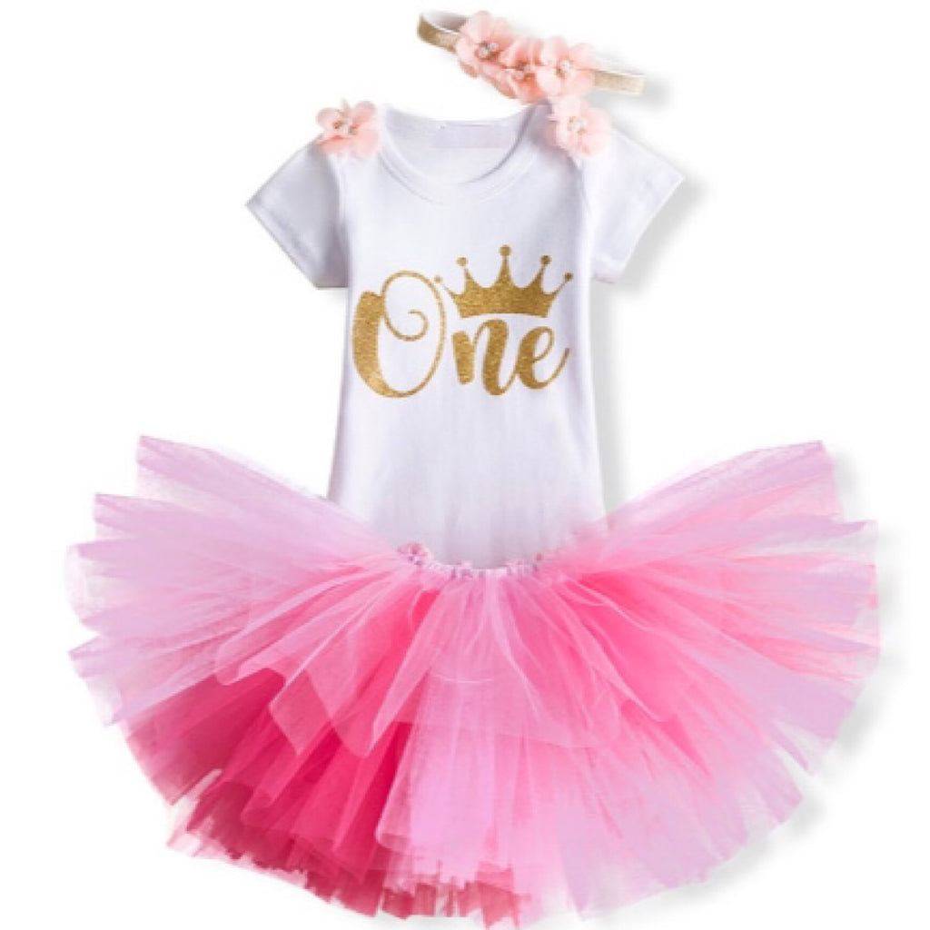 Pink Crown First Birthday Outfit