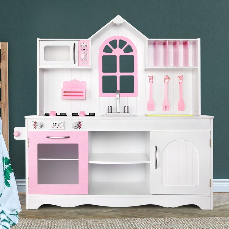 Pink and White Kitchen Set