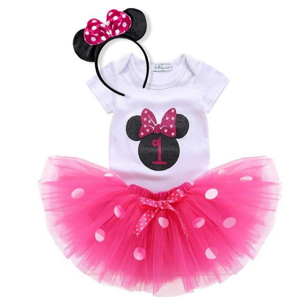Pink Minnie Mouse First Birthday Outfit