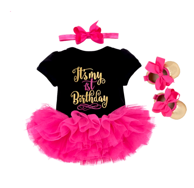 Black & Pink 1st Birthday Set
