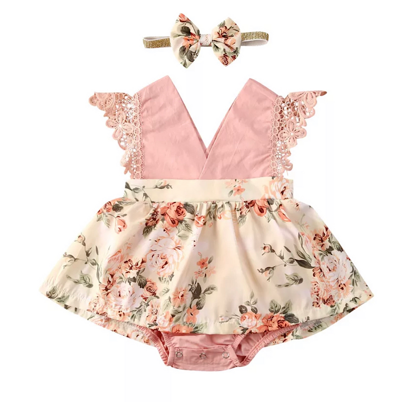 Blush Roses Romper + Headband