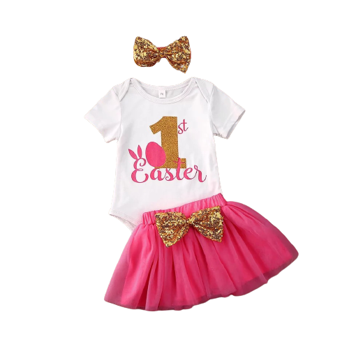 1st Easter Tutu Set - Hot Pink