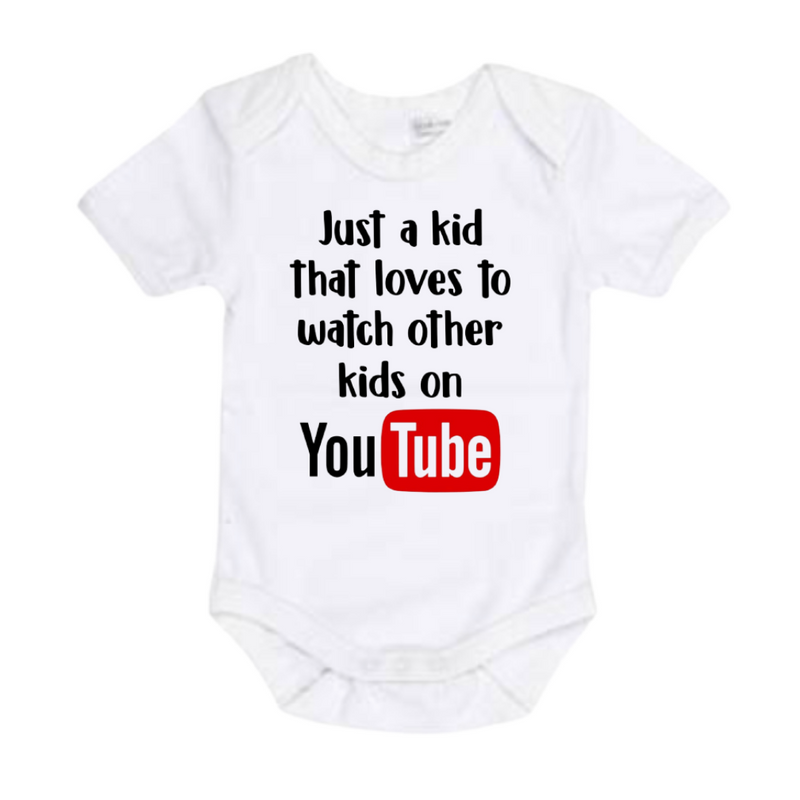 Just a Kid watching YouTube Shirt - White