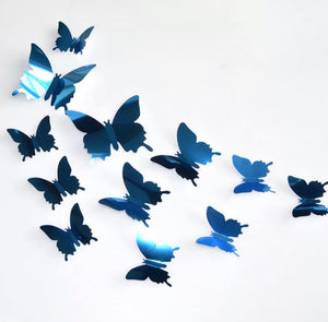 Blue Metallic Butterfly Wall Stickers (Set of 12)
