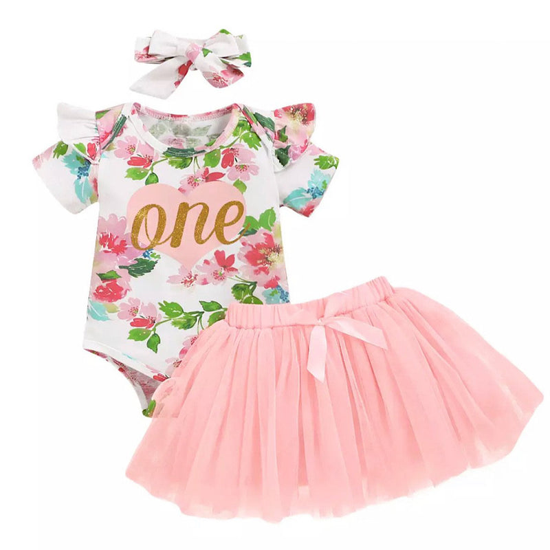 Floral Two Piece First Birthday Outfit