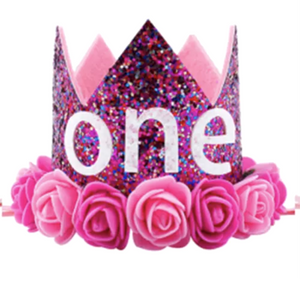Pink Confetti One - First Birthday Crown