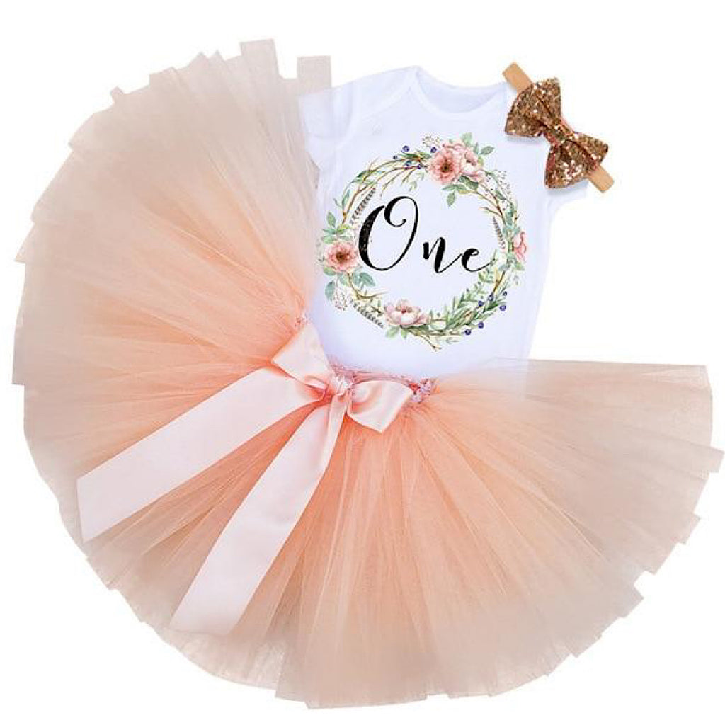 Peach Flower Birthday Dress
