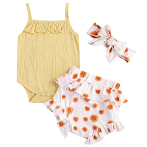 Ribbed Yellow Floral Set