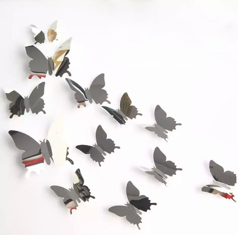 Silver Metallic Butterfly Wall Stickers (Set of 12)
