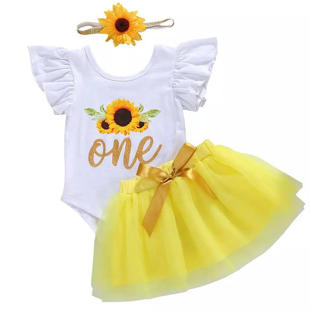 White Sunflower Birthday Outfit